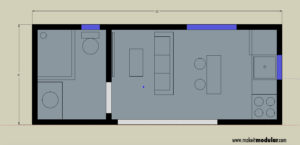 MI MOD 160A Studio 1Bath Floor Plan w Dimensions