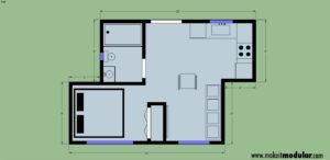 MI MOD 320A 1B 1B Floor Plan